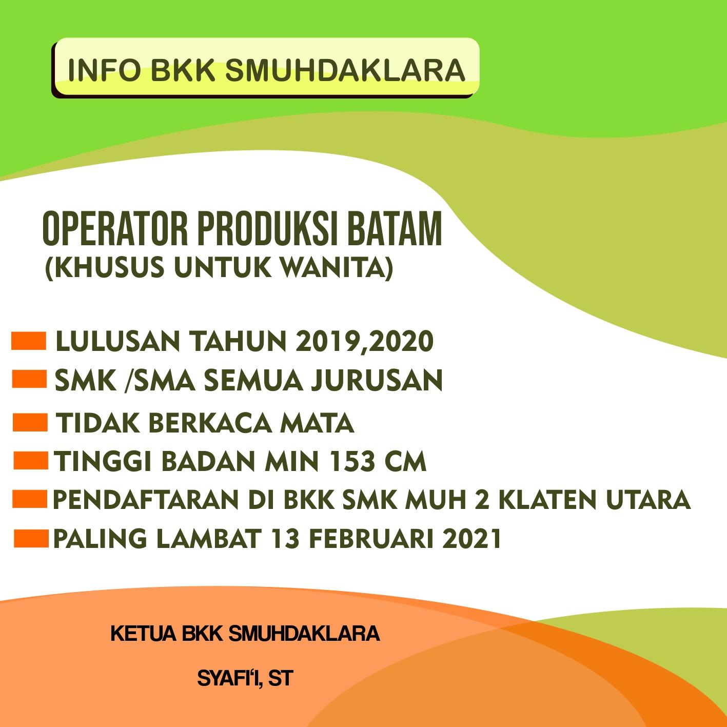 Lowongan Kerja Operator Produksi Batam